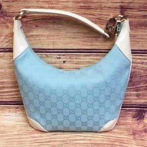 Gucci GG Canvas Shoulder Bag Light Blue w/ Duster